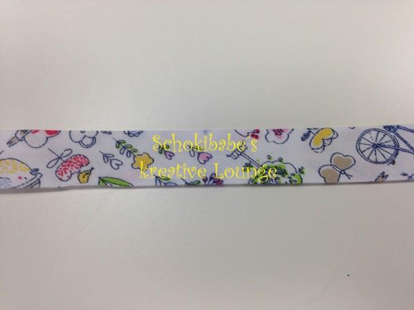 Schrägband Vögel & Blumen auf weiß