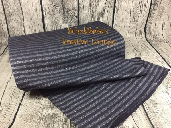 Bündchen Streifen schwarz - grau mit Glitzer