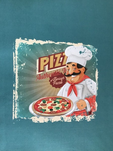 Stretchjersey Pizza Panel 77cm