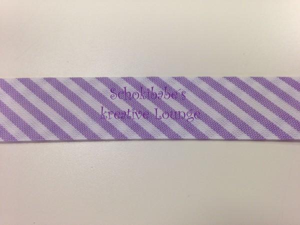Schrägband mit Streifen weiß-lila