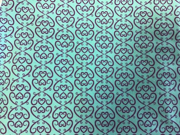 RESTSTÜCK 45 cm Stretchjersey Love Ornamente lila - türkis
