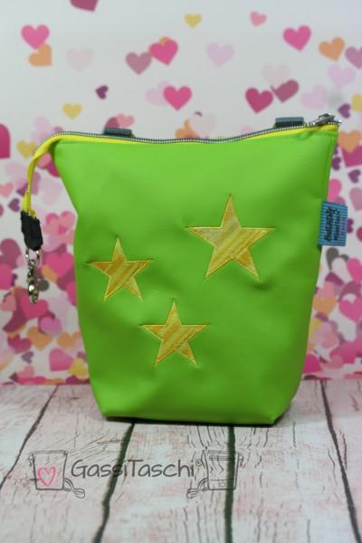 GassiTaschi PLUS Apfelgrün Sterne gelb