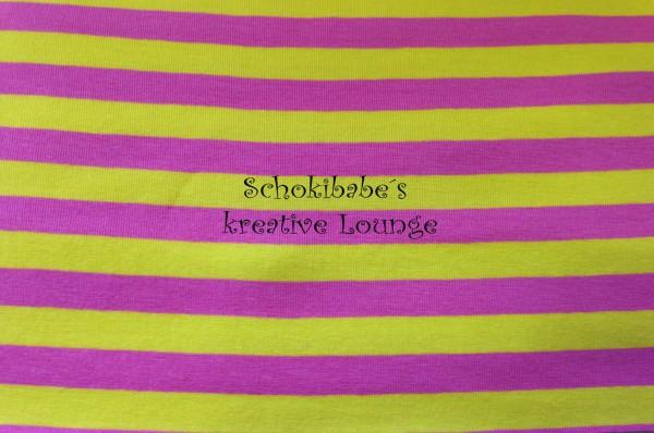 Stretchjersey Campante Streifen gelb - rosa