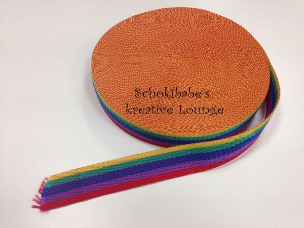Gurtband regenbogenfarben 30 mm