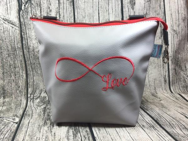 GassiTaschi Shopper Infinity Schleife Love rot - hellgrau Linksträger
