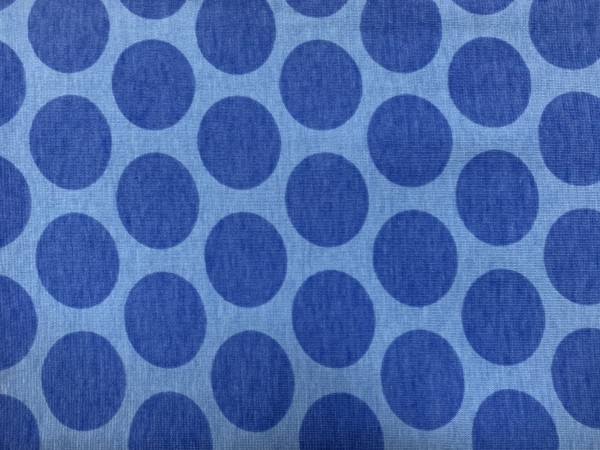 RESTSTÜCK 60 cm Stretchjersey Punkte dunkelblau - hellblau