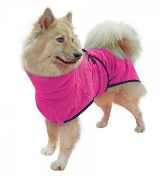 Hundebademantel Gr. 3, ca. 49 cm Rückenl., Grau/Orange/Pink/Grün