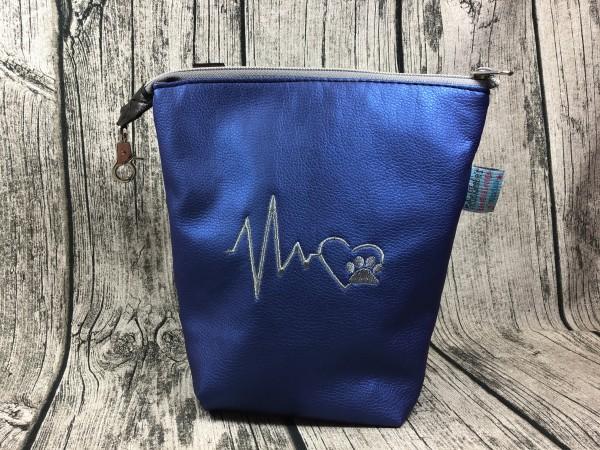 Gassi Taschi PLUS Herzschlag grau - blau metallic Rechtsträger