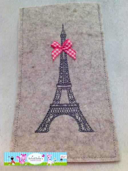 Filz Handyhülle Eiffelturm mit Schleife auf hellgrau