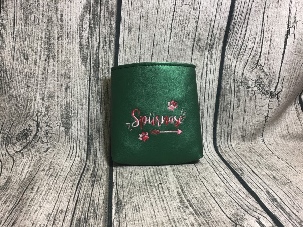 Mini Futterbeutel Kaylo tannengrün metallic - Glitzer rosa