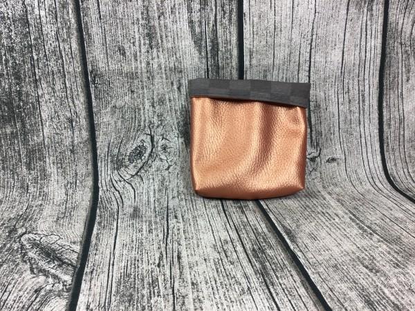 Mini Futterbeutel Kaylo kupfer metallic - Karos grau