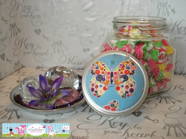Nähglas Blumen Schmetterling