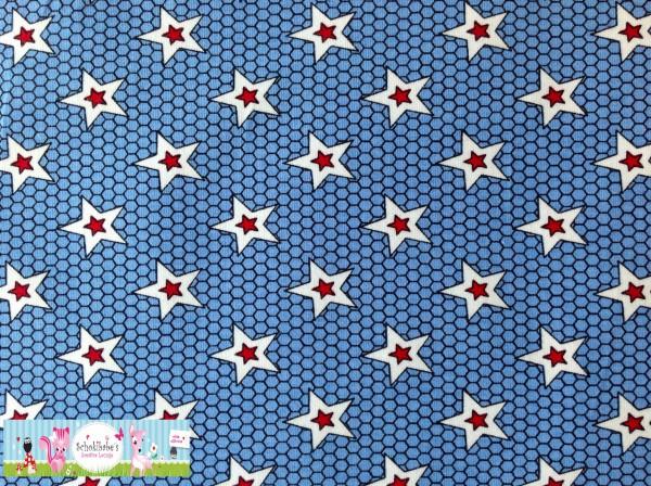 Stretchjersey Lovely Skulls Sterne blau