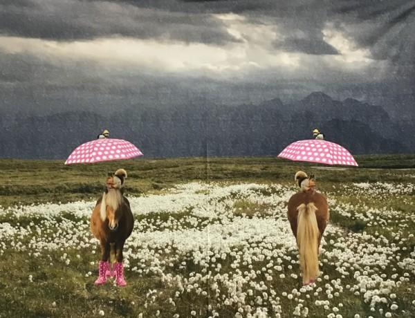 Stretchjersey Pferd mit Gummistiefel PINK 120cm Panel