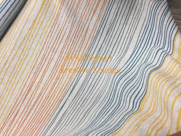 Stretchjersey Buntstiftstreifen orangeblau