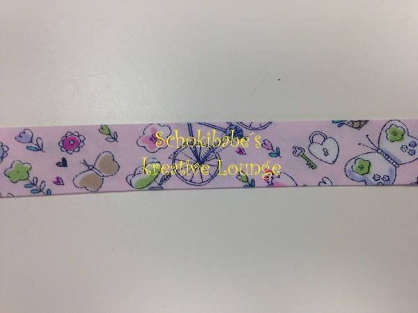 Schrägband Vögel & Blumen auf rosa