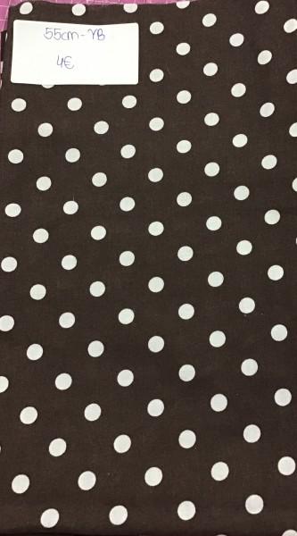 RESTSTÜCK 55 cm Baumwolle Punkte weiß - braun