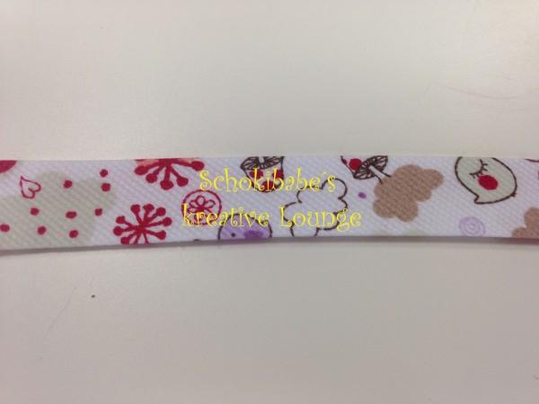 Schrägband Feincord Vögel & Blumen rot-weiß