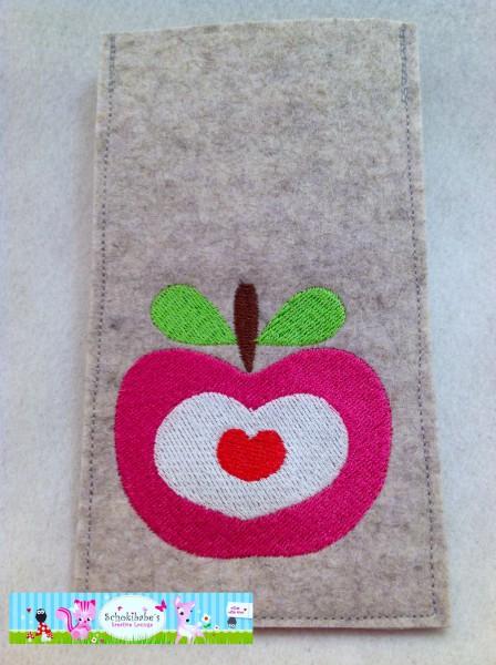 Filz Handyhülle pinker Apfel auf hellgrau