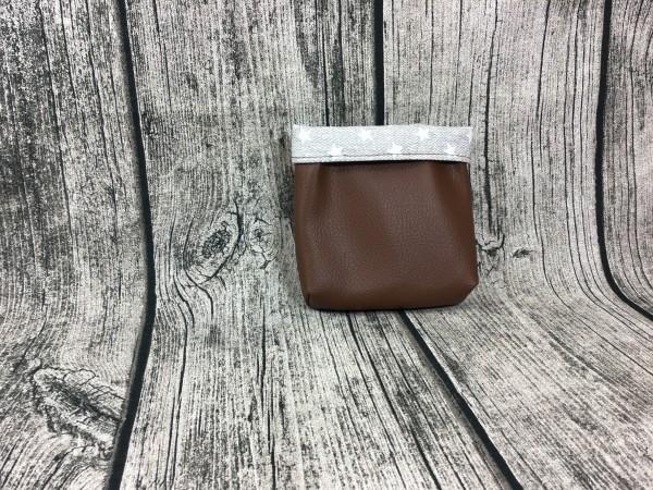 Mini Futterbeutel Kaylo schokobraun - Sterne grau