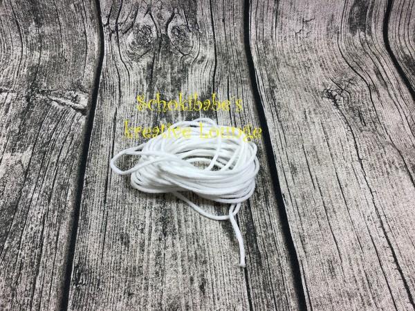 5m Gummi Kordel weiß 3 mm