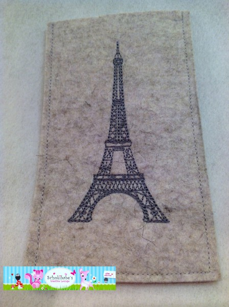 Filz Handyhülle Eiffelturm auf hellgrau
