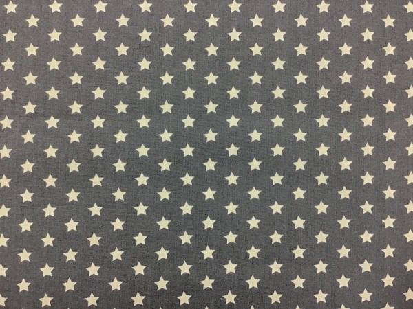 Baumwolle Sterne weiß auf grau