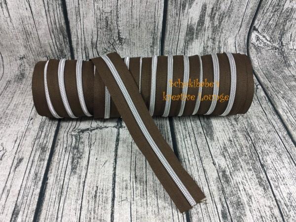 Metallisierter Reißverschluss dunkelbraun / silber breit