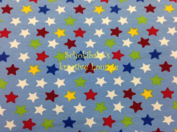 Stretchjersey bunte Sterne auf hellblau