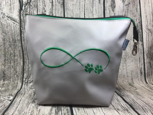 GassiTaschi Shopper Infinity Schleife Pfoten grün - hellgrau Linkgsträger