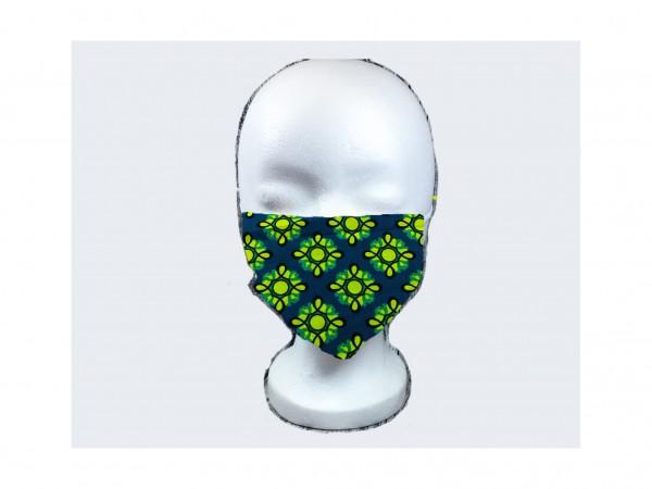 Gesichts Masken ORNAMENTE BLAU GELB
