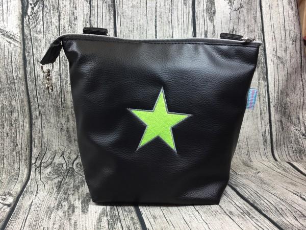 Gassi Taschi Shopper Stern schwarz - neongelb