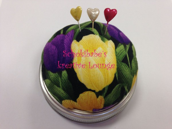 Nähglas Tulpen gelb-lila