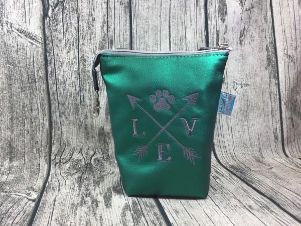 GassiTaschi Love Kompass grau - smaragd metallic Rechtsträger