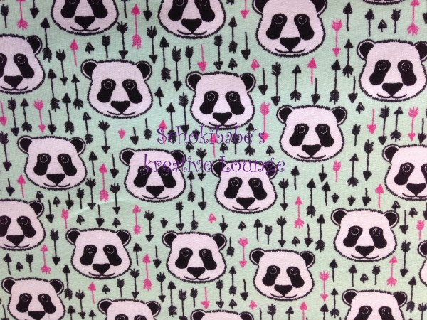 Reststück 107 cm Sommersweat Panda mint