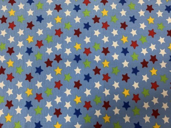 RESTSTÜCK 120 cm Stretchjersey Sterne bunt - hellblau