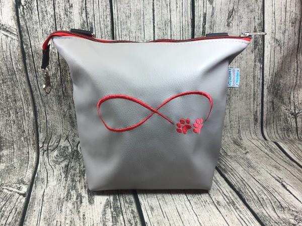 GassiTaschi Shopper Infinity Schleife Pfoten rot - hellgrau Rechtsträger