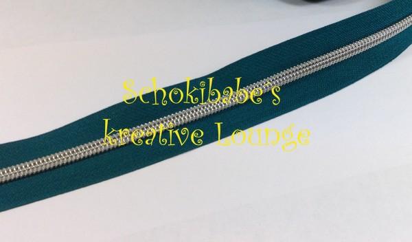 Metallisierter Reißverschluss petrol / silber breit