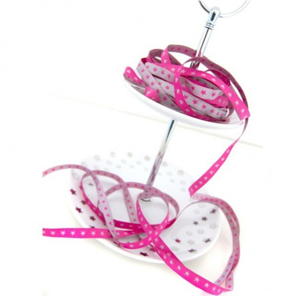 Webband schmales Sternchenband pink-silber