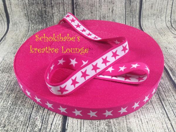 Gummiband Sterne pink-weiß 20 mm