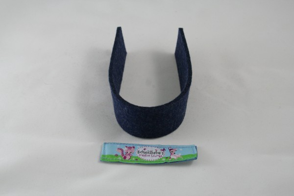 Wollfilz Streifen Zuschnitt jeansblau-meliert