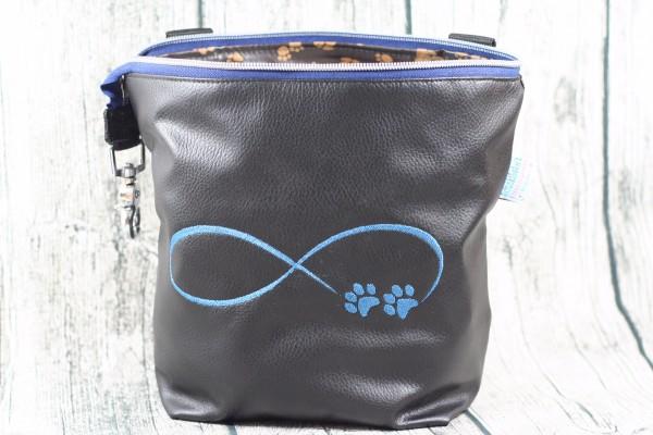 Gassi Taschi Shopper Infinity Pfoten schwarz - blau