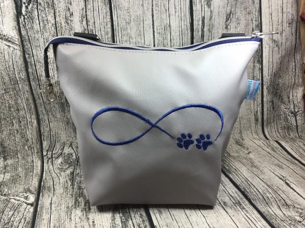 GassiTaschi Shopper Infinity Schleife Pfoten blau - hellgrau