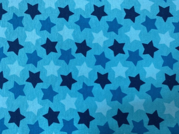 RESTSTÜCK 100 cm Interlock Sterne blau - türkis