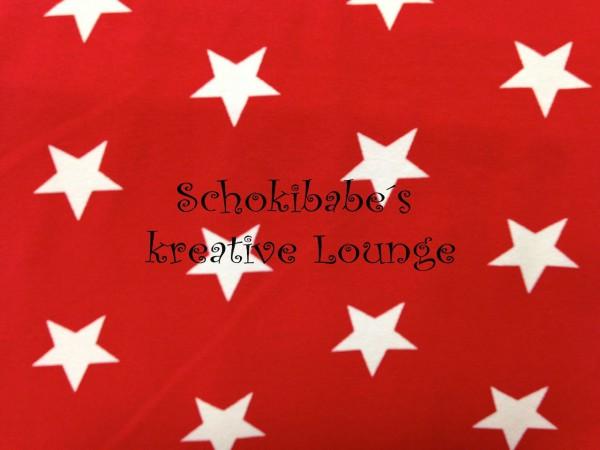 Stretchjersey Sterne weiß auf rot