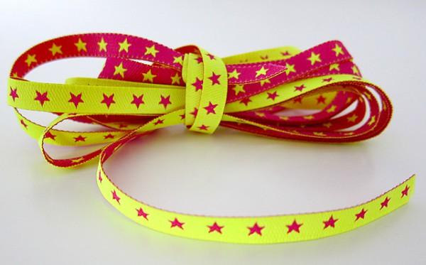 Webband schmales Sternchenband neongelb-pink