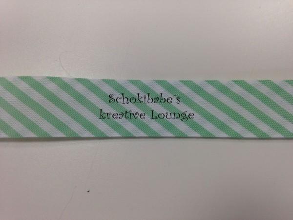 Schrägband mit Streifen weiß-hellgrün