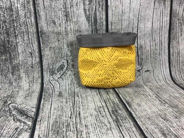 Mini Futterbeutel Kaylo gelb Struktur - Karos grau