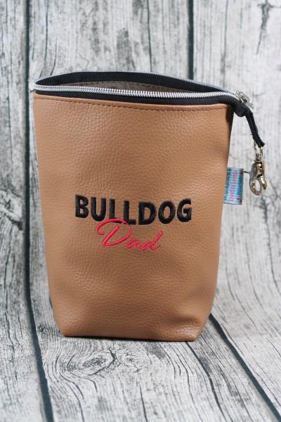 Gassi Taschi Bulldog Dad braun - schwarz - rot Linksträger