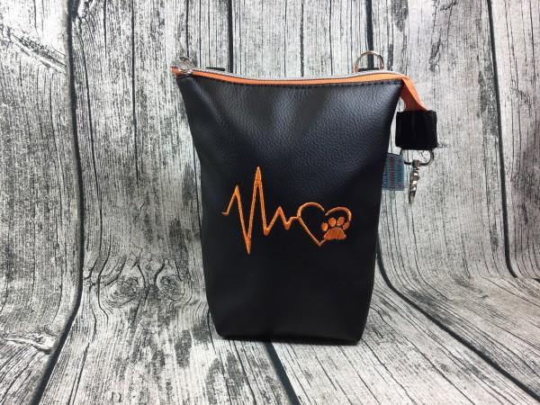 GassiTaschi Herzschlag orange - schwarz Linksträger